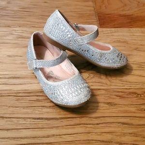 3/$15 Sparkle Glitzie Mary Jane Flat Silver Dressy